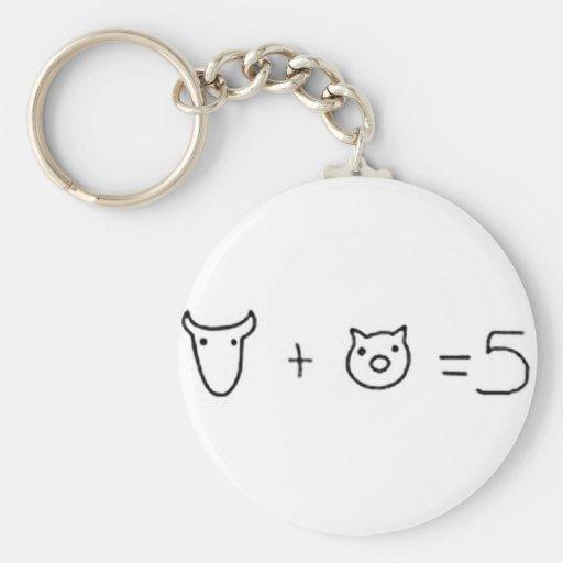 vaca más el igual cinco del cerdo llavero personalizado