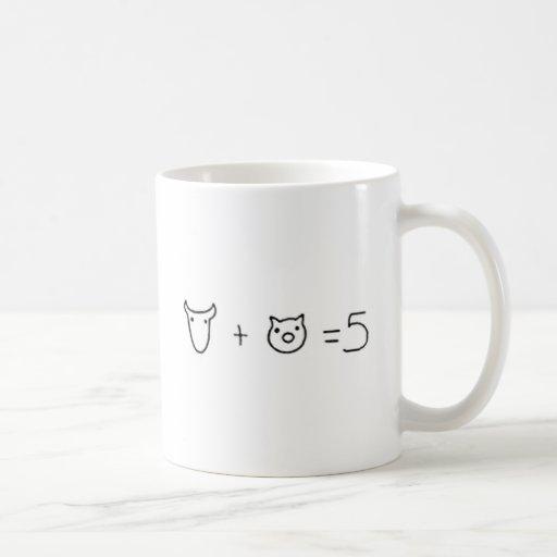 vaca más el igual cinco del cerdo tazas de café