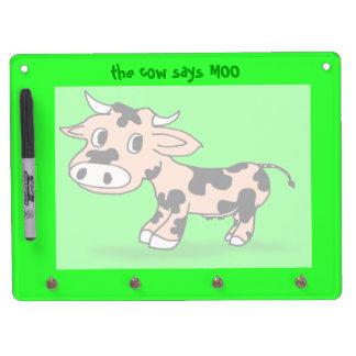 Vaca modelada del dibujo animado en verde con el pizarras blancas