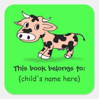 Vaca modelada del dibujo animado - placa de libro pegatina cuadrada