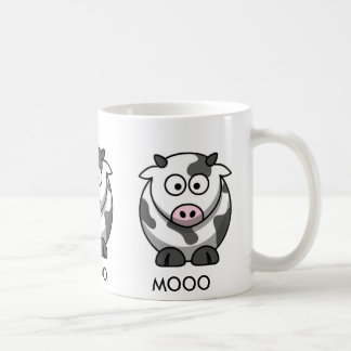 Vaca MOOO (3x del dibujo animado alrededor) Taza