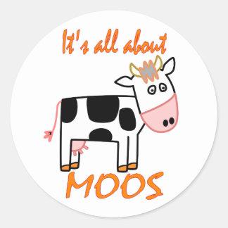 Vaca Moos Etiqueta Redonda