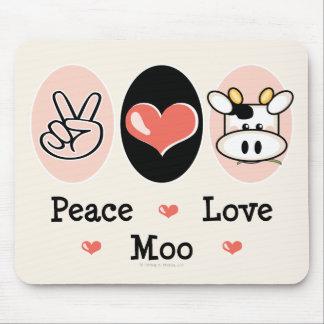 Vaca Mousepad del MOO del amor de la paz Tapete De Ratones
