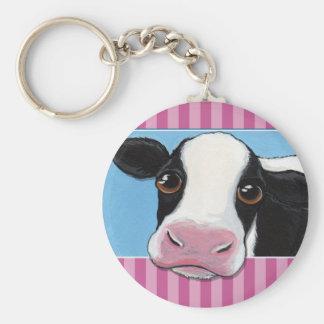 Vaca negra y blanca caprichosa linda con la raya llavero redondo tipo pin