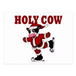 Vaca patinadora del navidad postal
