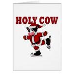 Vaca patinadora del navidad tarjeton