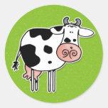 vaca pegatinas redondas