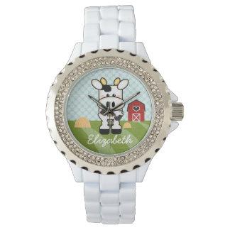 Vaca personalizada de la granja relojes
