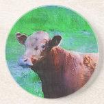 Vaca pintada de Brown Posavasos Para Bebidas