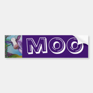 Vaca púrpura etiqueta de parachoque