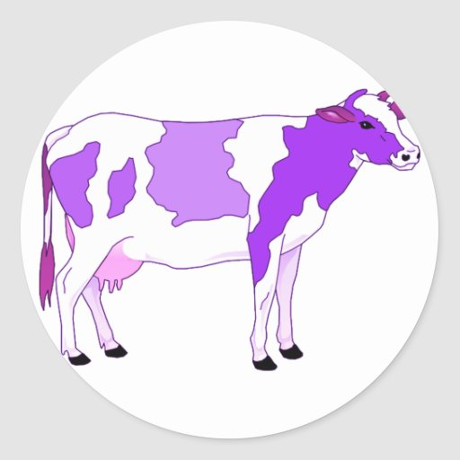Vaca púrpura en colores pastel pegatina redonda
