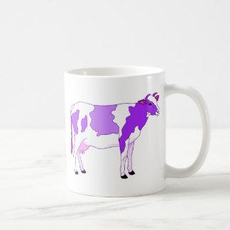 Vaca púrpura en colores pastel taza