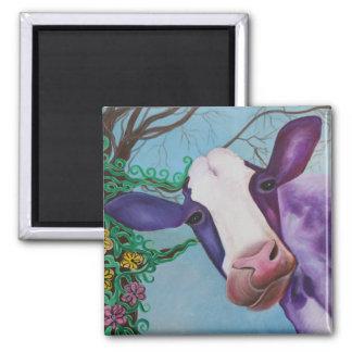 Vaca púrpura imán cuadrado