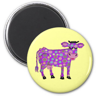 Vaca púrpura imán redondo 5 cm