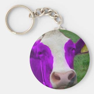 vaca púrpura llavero redondo tipo pin