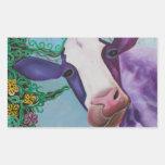 Vaca púrpura pegatina rectangular