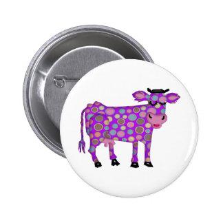 Vaca púrpura pin redondo 5 cm
