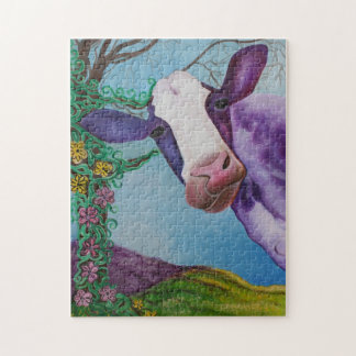 Vaca púrpura puzzle con fotos