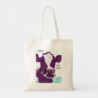 Vaca púrpura que comtempla muy posiblemente el bol bolsa tela barata