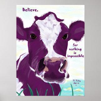 Vaca púrpura que comtempla muy posiblemente vuelo poster