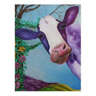Vaca púrpura tarjeta postal