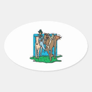 Vaca que discute pegatina ovalada