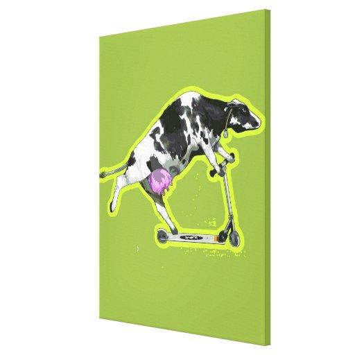 Vaca que monta una vespa impresiones de lienzo