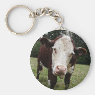 Vaca que pega hacia fuera la lengua llavero redondo tipo pin