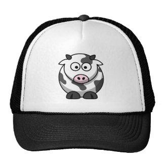 Vaca redonda divertida observada grande del dibujo gorra