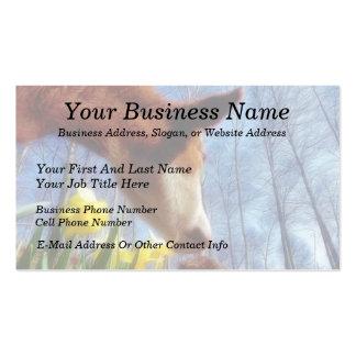 Vaca roja y narcisos amarillos plantillas de tarjetas de visita