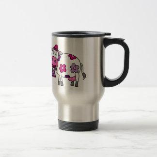 Vaca rosada de la margarita taza térmica