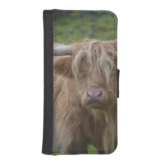 Vaca rubia lanuda de la montaña fundas billetera para teléfono