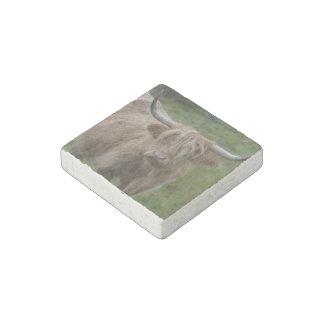 Vaca rubia lanuda de la montaña imán de piedra