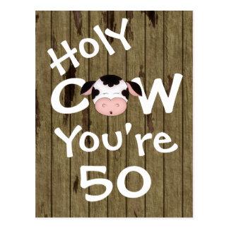 Vaca santa divertida usted es postal de 50 cumplea