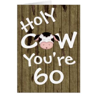 Vaca santa divertida usted es tarjeta de felicitac