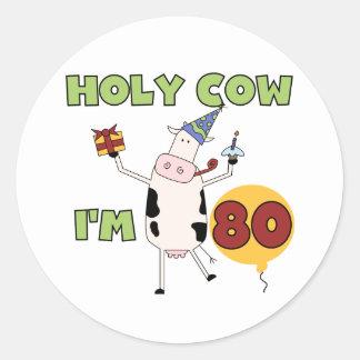 Vaca santa soy 80 camisetas y regalos del pegatina redonda