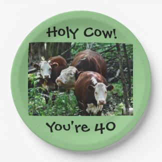 Vaca santa usted es la placa de papel 40 plato de papel de 9 pulgadas