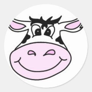 Vaca sonriente etiquetas redondas