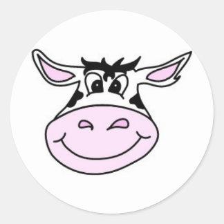 Vaca sonriente pegatina redonda