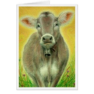 """""""Vaca suiza con tarjeta de felicitación de Bell"""""""