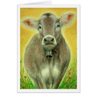 """Vaca suiza con tarjeta de nota de Bell"""