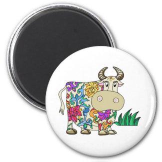 Vaca tatuada imán redondo 5 cm