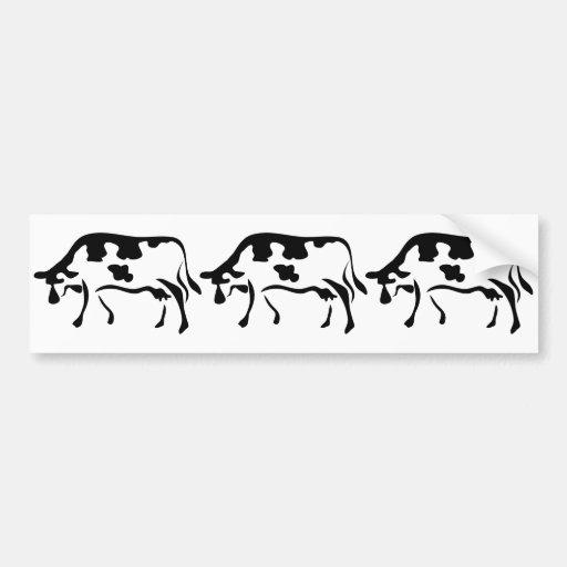 Vaca, vaca, vaca pegatina para auto