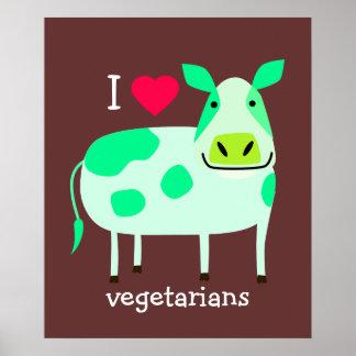 Vaca verde - vegetariano póster