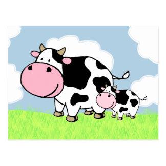 Vaca y bebé postales