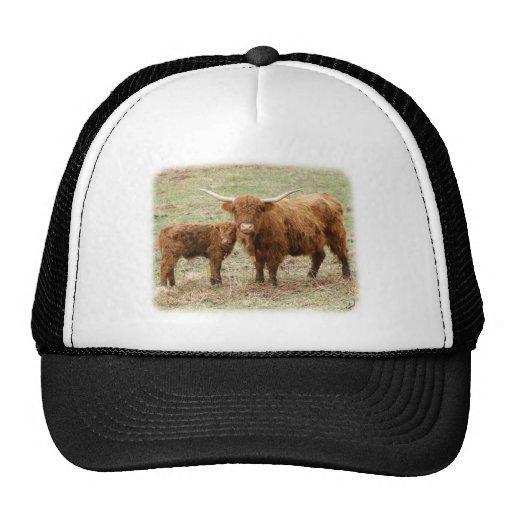 Vaca y becerro 9Y316D-045 de la montaña Gorros Bordados