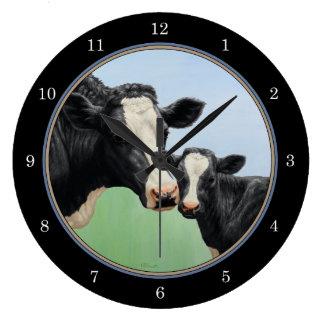 Vaca y becerro de Holstein Reloj Redondo Grande