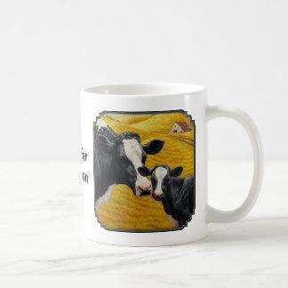 Vaca y becerro de Holstein Taza Básica Blanca
