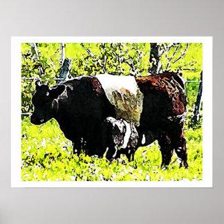 Vaca y becerro de Oreo en Maine Póster