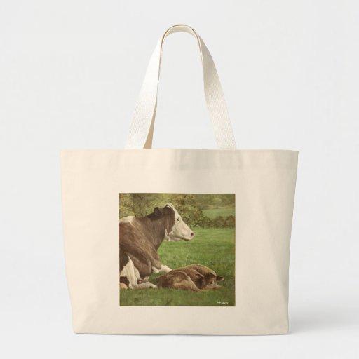 vaca y becerro en campo bolsas lienzo